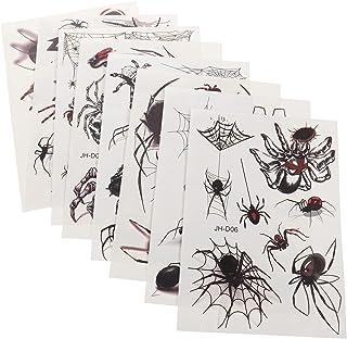 Beaupretty 8 Vellen Spider Skull Tattoos Decal Halloween Tijdelijke Sticker Lichaam Plakken