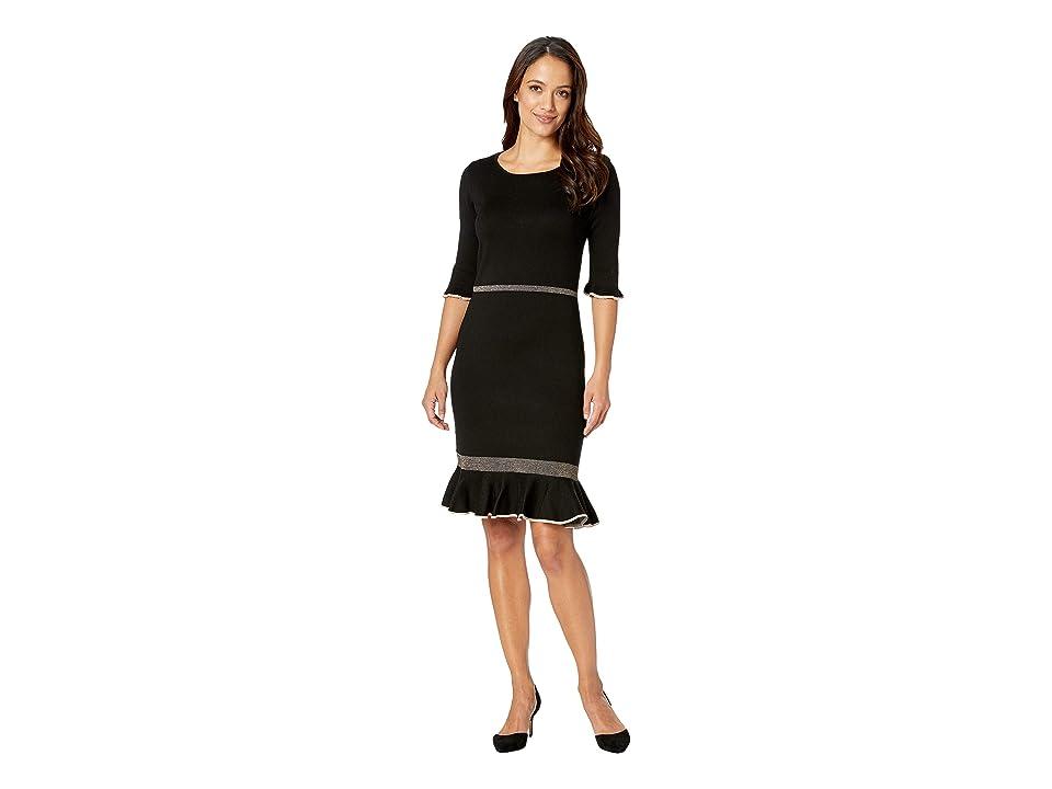 Taylor Short Sleeve Flounce Skirt Sweater Dress (Black/Blush) Women