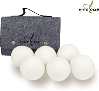 Woolous 100% Wool Laundry Dryer Balls – Naturally Reduce Wrinkles, Static, Drying Time, 6-Pack