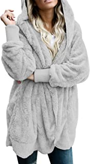 Womens Long Sleeve Solid Fuzzy Fleece Open Front Hooded...