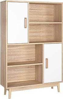 Homfa Etagères Scandinave Meuble de Rangement avec Placard Bois pour Salon Bureau Chambre Entrée (4 Etagères 2 Porte)