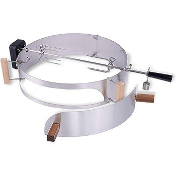Moesta-BBQ 10093 - Set di girarrosto con Smokin' PizzaRing - Spiedo girevole Moesta con motore a batteria senza fili per polli da barbecue ecc. - Per barbecue a sfera con diametro di 57 cm