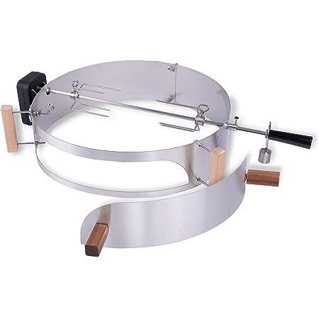 Moesta-BBQ 10093 - Set di girarrosto con anello per pizza Smokin' – Spiedo girevole con motore a batteria senza fili per barbecue sferici Ø 57 cm