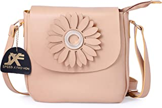 Speed X Fashion Girls Leather Flower Sling Bag (S00RT-Cream)
