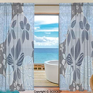 SCOCICI Shutters Sheer Tier Curtains for Kitche,Bedroom,Casual Weave Window Curtain,2 Panels,Flower,Tropical Blooms Inside Circular Shaped Forms Swirled Petals Elegance Pattern Decorative,Blue Grey