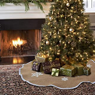 Adeeing Christmas Tree Skirt 48 Inches Burlap Snowflake Printing Xmas Decorations Tree Skirt for Indoor Outdoor Ornament
