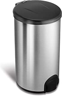 NINESTARS TTT-45-8 Automatic Tap Sensor Trash Can, 12 Gal 45L, Stainless Steel Base (Round, Black Lid)