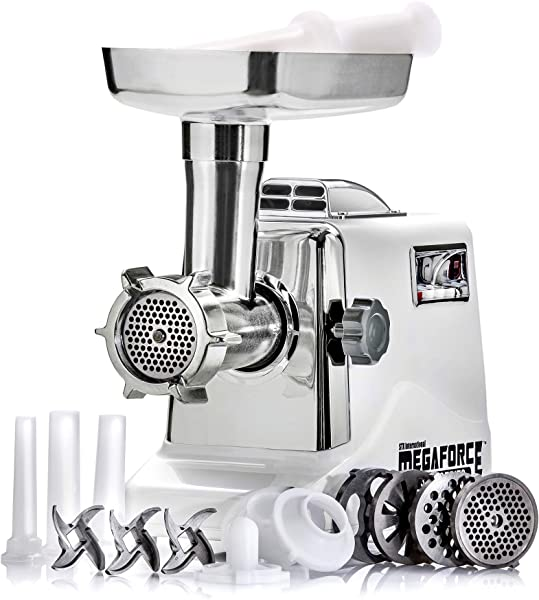 STX INTERNATIONAL STX 3000 MF Megaforce Patented Air Cooled Electric Meat Grinder With 3 Cutting Blades 3 Grinding Plates Kubbe And 3 Sausage Stuffing Tubes