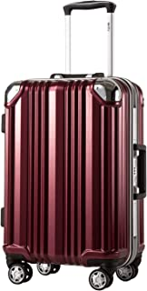 Coolife Luggage Aluminium Frame Suitcase with TSA Lock 100% PC (M(24in), Wine red)