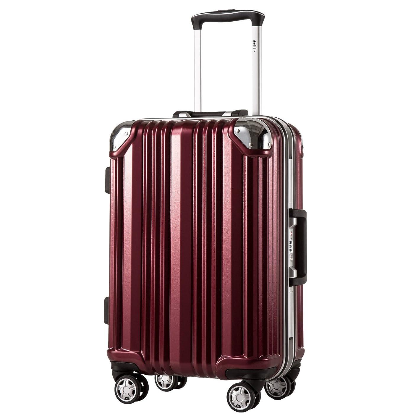 小包満州民間人[クールライフ] COOLIFE スーツケース キャリーバッグ100%PCポリカーボネート ダブルキャスター 二年安心保証 機内持込 アルミフレーム人気色 超軽量 TSAローク