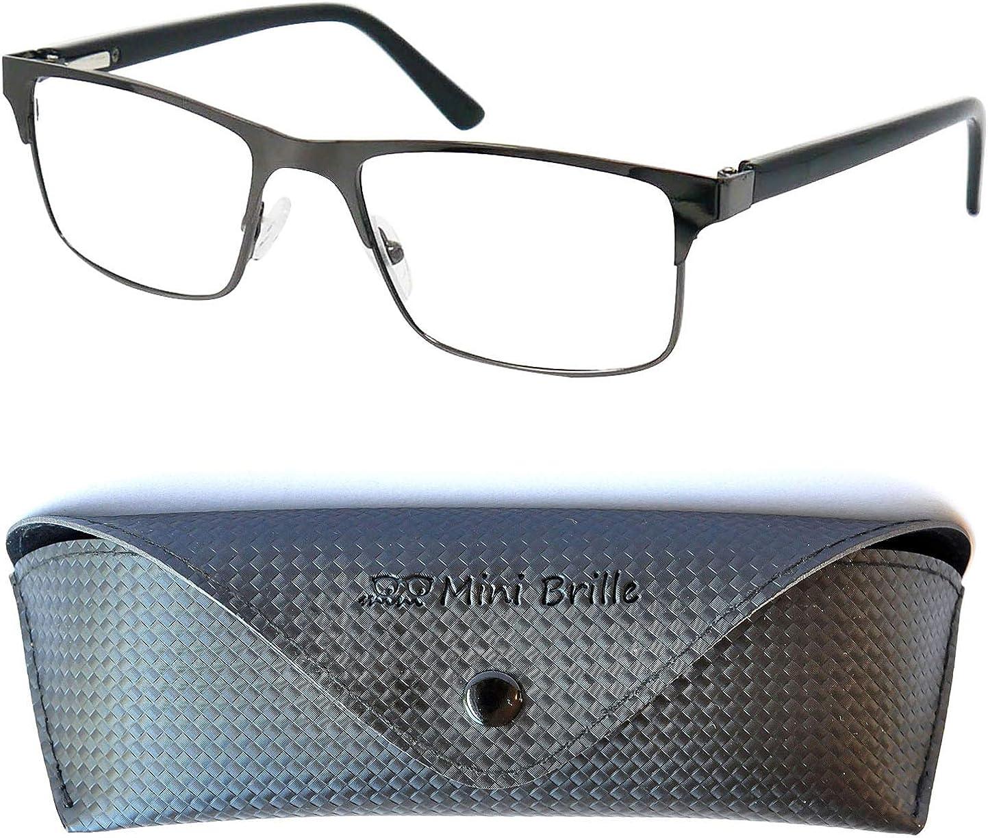Mini Brille Elegantes Gafas con Filtro de Luz Azul Unisex para Leer con Lentes Rectangulares, Funda GRATIS, Montura Cuadradas de Acero Inoxidable, Para Hombre y Mujer