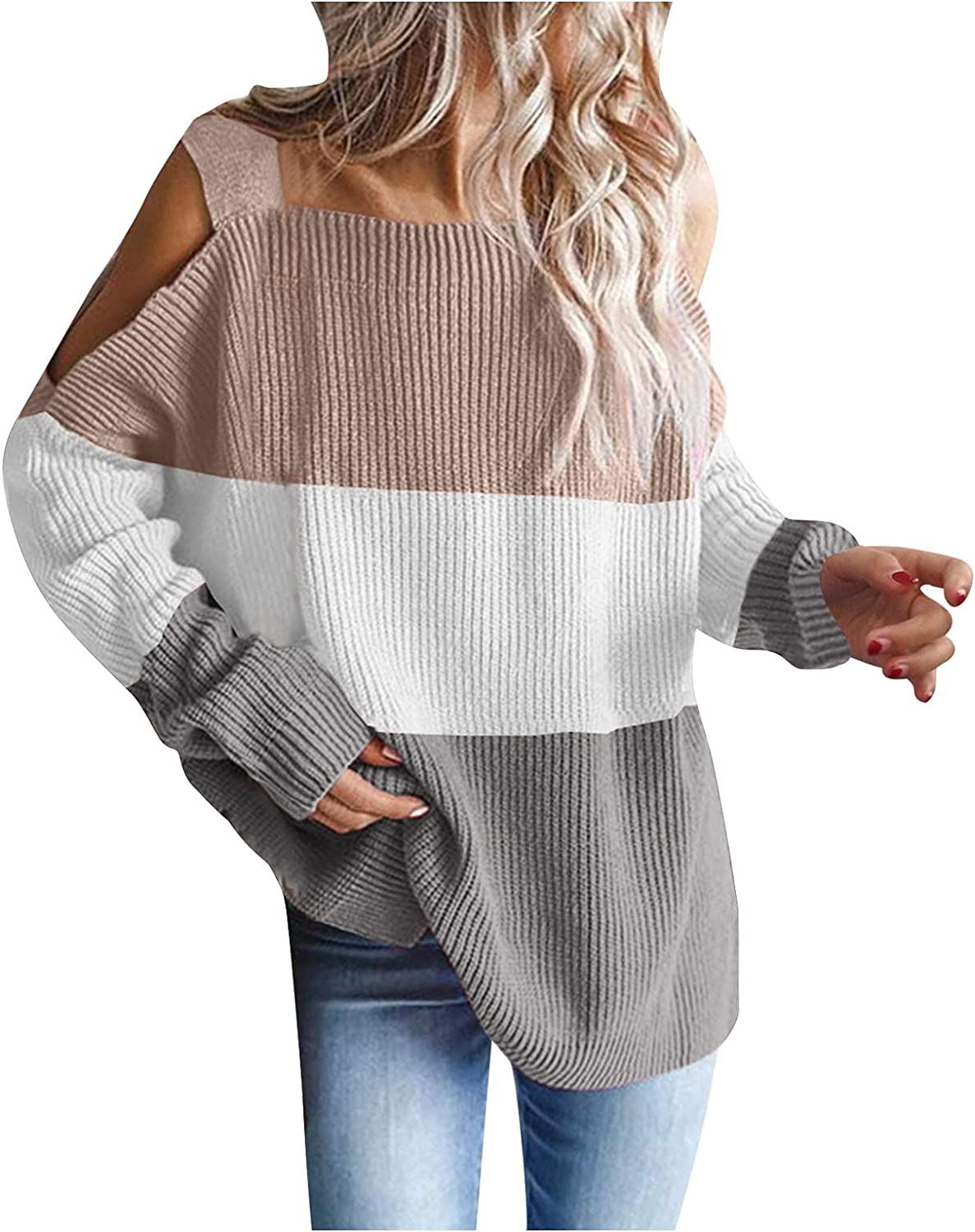Esbelle Womens Cold Shoulder Oversized Sweaters Batwing Long Sleeve Chunky Knitted Winter Tunic Tops Pullover Jumper Tops