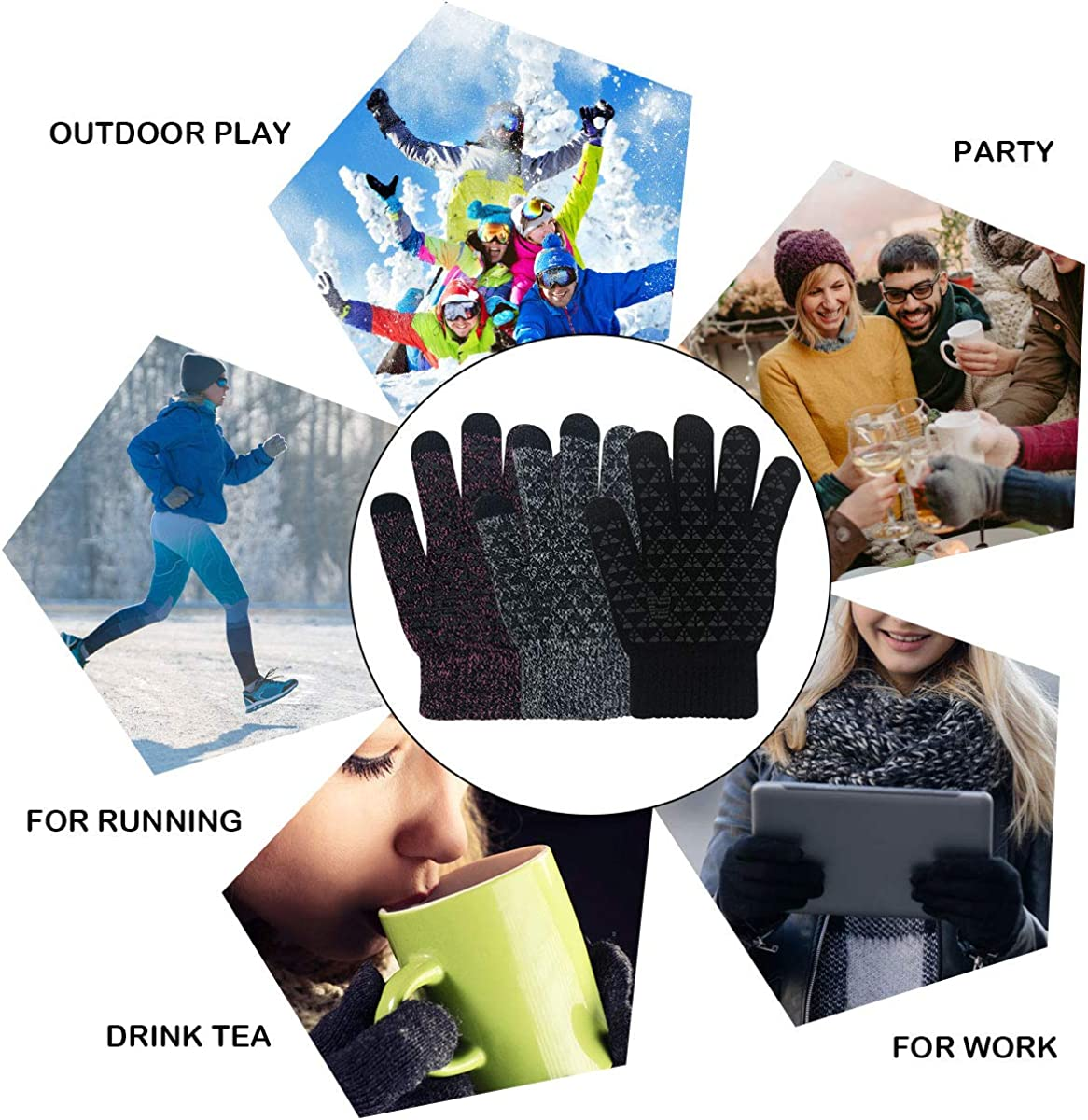 Touch Screen Gloves Winter Cycling Sports Gloves Bike Trainer Non-slip Knit Touchscreen Gloves Women Men Outdoor Accessories Cycling Running Mittens for Ladies