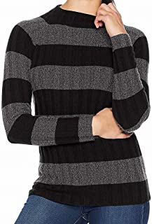 Lark & Ro Womens Sweater Black US XS Turtleneck Mock Cashmere Striped