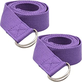 Dolwis Store 2 Pack Yoga Strap (6ft) Stretch Band with Adjustable Metal D Ring Buckle Loop | Exercise & Fitness Stretching...