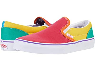 Vans Kids Classic Slip-On (Big Kid) ((Rainbow Color-Block) Multi/True White) Girls Shoes