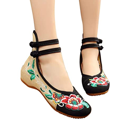 CINAK Embroidered Flats Shoes Womens Chinese Embroidery Ballet Lofers Slip on Comfortable Bohemia