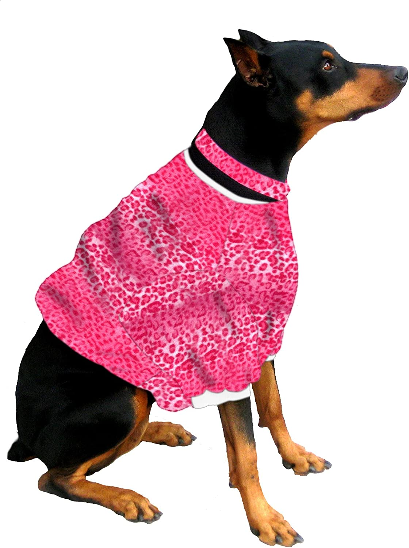 Boxer  Doberman Dog Shorty for Large Dog (60 to 90 Pounds) Pink Leopard