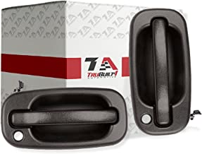 T1A Left and Right Pair of Black Exterior Door Handles Replacement for 1999-2007 Chevy Silverado and GMC Sierra, Fits Avalanche Escalade, Yukon XL, Yukon, Tahoe, Suburban, Denali T1A 15034985/15034986