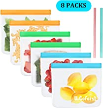 6 Pack Biodegradable Reusable Storage Bags + 2 Silicone Straw - Leakproof BPA Free FDA Grade PEVA Lunch Sandwich Food Bags Freezer Safe Bags Kids Snacks Bags Make-up Travel Home Organi (6 Large)