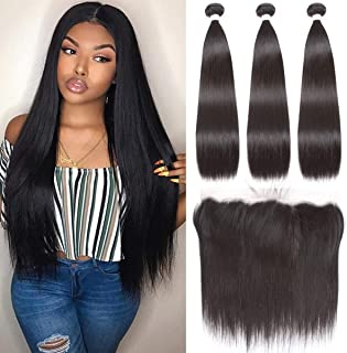 Beauhair Brazilian Straight Hair 3 Bundles With Frontal Closure(14 16 18+14Frontal) 13x4 Ear to Ear Lace Frontal Closure With Bundles Unprocessed Virgin Human Hair Bundles With Frontal Natural Color
