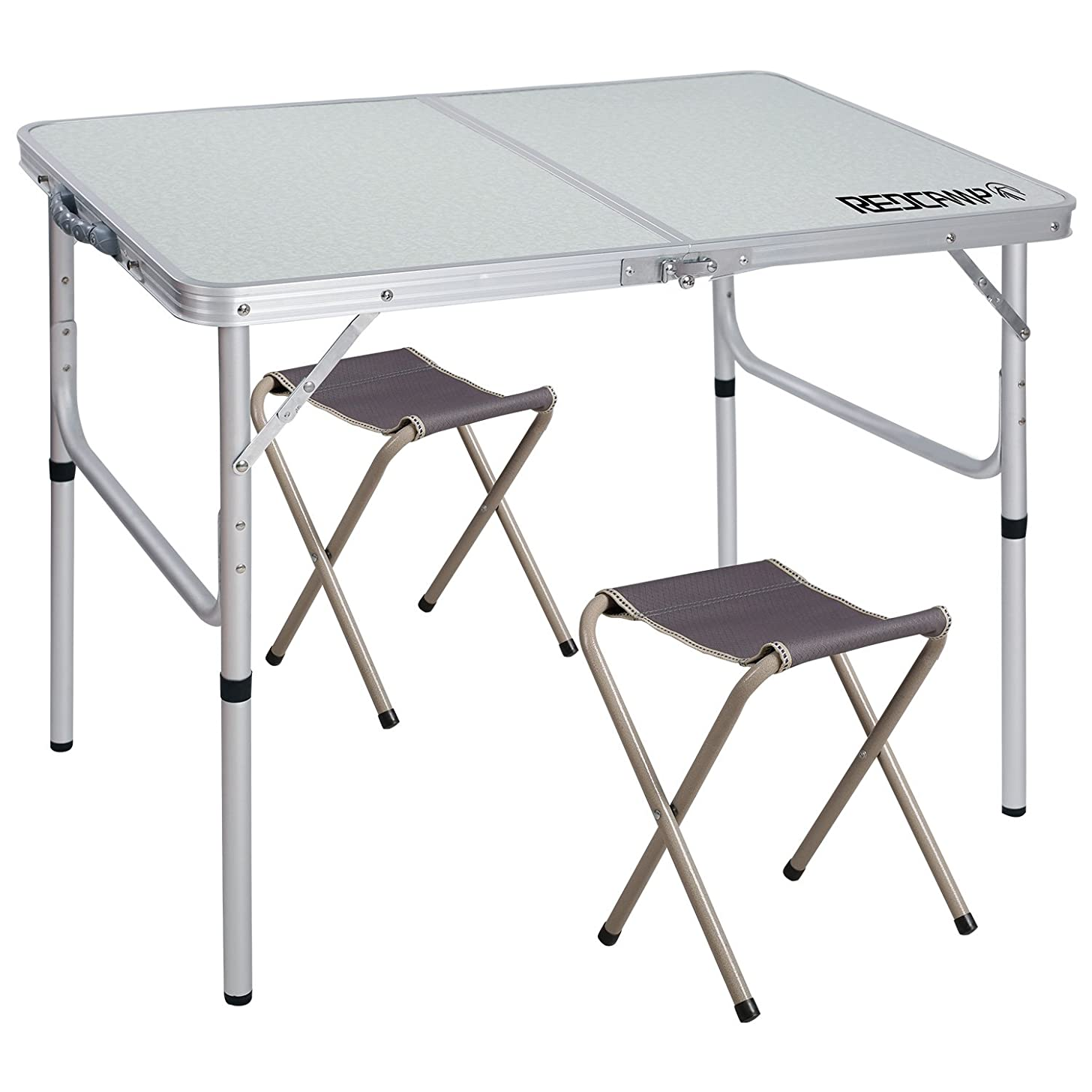 REDCAMP Aluminum Folding Table 3/4/6 Foot with Metal Stools, Adjustable Height Portable Camping Table and Chairs Set, Sturdy Lightweight