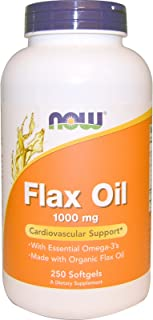Now Foods Flax Oil with Essential Omega-3-1,000 mg - 250 Softgels