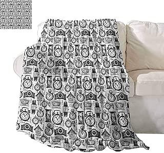 SONGDAYONE Multi-Pattern Blanket Vintage Superfine Fiber Hand Drawn Sketch Style Monochrome Digital Wrist Analog Watches Bird Wall Clocks W40 x L60 Black White