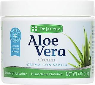 De La Cruz Aloe Vera Cream, Allergy-Tested, No Parabens, Made in USA 4 OZ.