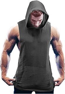 Men's Workout Hooded Tank Tops Bodybuilding Muscle Cut Off T Shirt Sleeveless Gym Hoodies