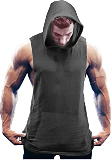 Simbama Men's Workout Hooded Tank Tops Sleeveless Gym Shirts with Kangaroo Pockets
