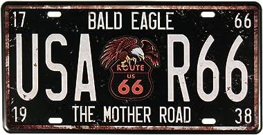 Plaque De Route Numéro 66 Métallique Etain Décor Bar Pub Café Signe Acceuil