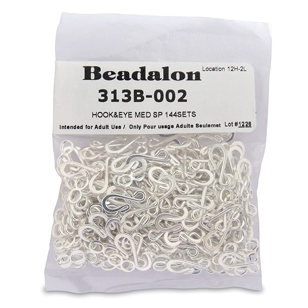 Beadalon Medium Hook and Eye Clasps, Silver Plate, Set of 144
