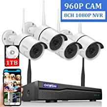 【2019 New 8CH Expandable】OHWOAI Security Camera System Wireless, 8CH 1080P NVR, 4Pcs 960P HD Outdoor/ Indoor IP Cameras,Home CCTV Surveillance System (1TB Hard Drive)Waterproof,Remote Access,Plug&Play