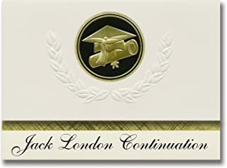 Signature Announcements Jack London Continuation (Van Nuys, CA) Graduation Announcements, Presidential style, Elite package of 25 Cap & Diploma Seal. Black & Gold.