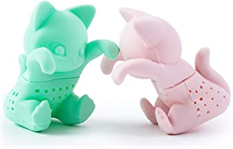 Tea Infuser Set for Loose Leaf Tea - Cute Cat-shaped Tea Strainers for Enjoyable Tea Times with Friends - Set of 2 - Pink and Mint Green