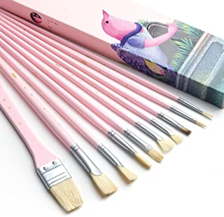 Miya Art Paint Brush Set - 10 Pieces Long Handle Hog Bristle Brush Great for Watercolor, Gouache, Oil, Acrylic Painting & More (Pink)-Lightwish
