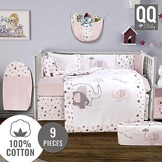 QoupQuru Baby Crib Bedding Set - 100% Turkish Cotton - 9 Piece Nursery Crib Bedding Sets for Boys & Girls - Elephant Design - 4 Color Variations by QQ Baby (Pink & Gray)