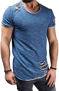 Macondoo Mens Short Sleeve Casual Ripped Hole Summer Crewneck T-Shirts