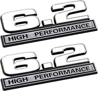 6.2 Liter High Performance Emblems in White and Chrome - Pair