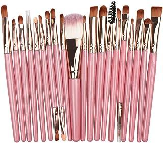 Makeup Brush Set Professional Makeup 20Pcs Tools Premium Synthetic Foundation Powder Blush Shadow Brushes Concealers Eye Cosmetics Make Up Brushes Kit Beginner Full set for men and women (Pink+gold)