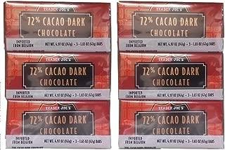 18 Trader Joes 72% CACAO Dark Chocolate Candy Bars NO ARTIFICIAL FLAVORS NO PRESERVATIVES