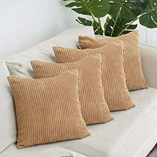FOOZOUP Decorative Pillow Covers Corduroy Soft Soild Throw Pillow Covers 4 Packs Square Cushion Cases Pillowcases for Sofa Bedroom Car 18 x 18 Inch Taupe