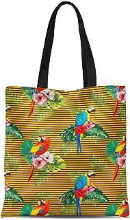 S4Sassy Red Stripe & Bird Print Canvas Shopping Tote Bag Carrying Handbag Casual Shoulder Bag 16x12 Inches