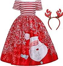 DYMCII Girls Christmas Dresses Xmas Eve Holiday Party Dress Santa Claus Snowflakes Printed Outfits w/Reindeer Headband 3-13T