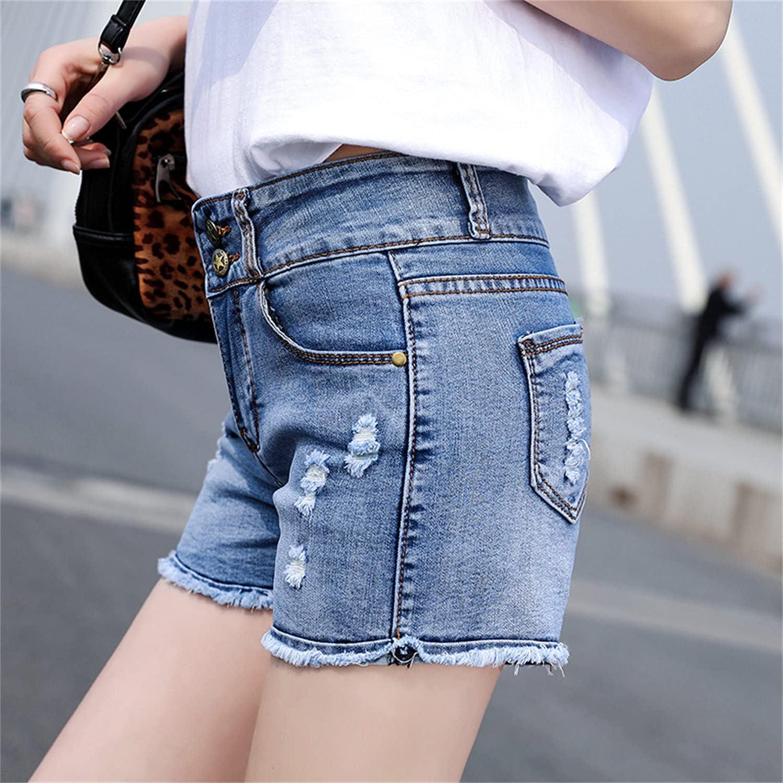 Women's Ripped Denim Shorts Cut Distressed Fringe Jean Short Frayed Hem Simple Summer Casual Jeans Hot Short Pant (Blue,31)
