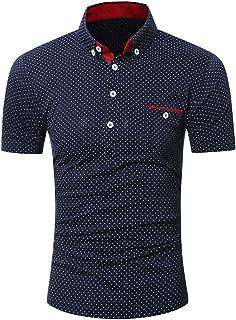 2019 Newest Mens Casual Short Sleeve Shirt Business Slim Shirt Dot Print Blouse Top