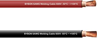 Bybon 6 AWG Welding Cable 600V COMBO PACK 20 FT Each Black + Red