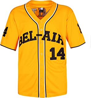 MOLPE Smith #14 Bel Air Academy Baseball Jersey S-XXXL Yellow, 90S Clothing for Men, Stitched Letters and Numbers