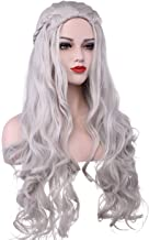 Daenerys Targaryen Costume Wigs for Game of Thrones Khaleesi Halloween Cosplay Hair Wig Wavy Curly (Silver Grey)